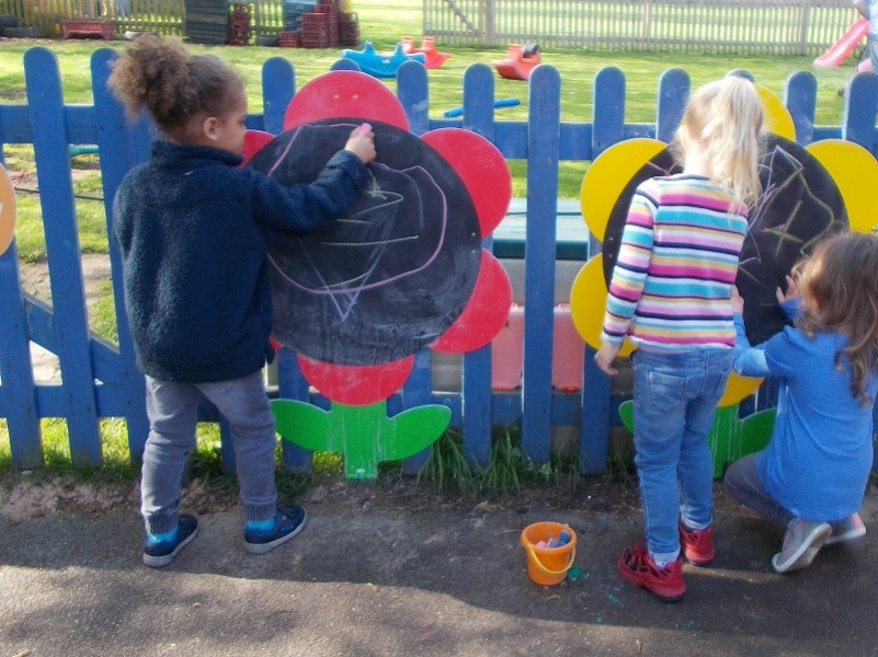 Drawing on outdoor chalkboards
